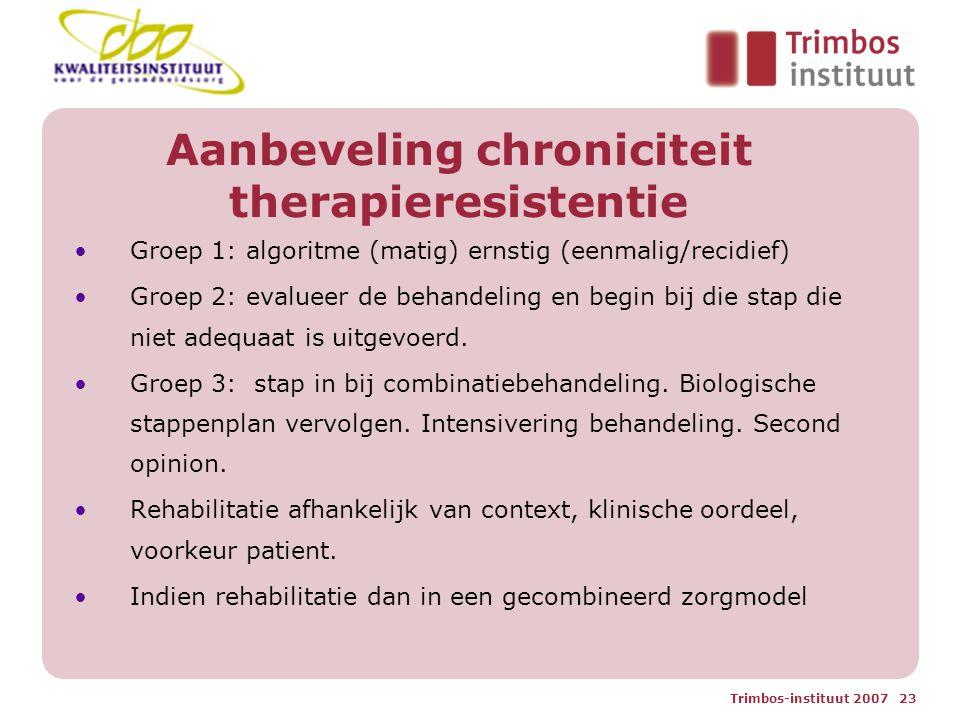 Trimbos-instituut 2007 23 Aanbeveling chroniciteit therapieresistentie Groep 1: algoritme (matig) ernstig (eenmalig/recidief) Groep 2: evalueer de behandeling en begin bij die stap die niet adequaat is uitgevoerd.