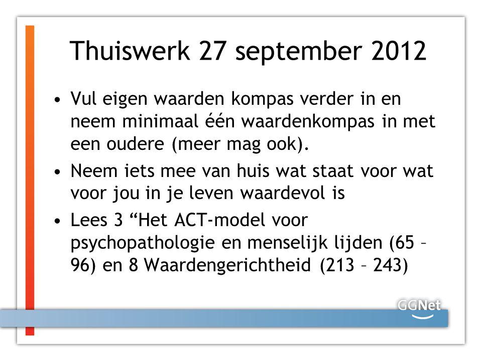 Thuiswerk 27 september 2012 Vul eigen waarden kompas verder in en neem minimaal één waardenkompas in met een oudere (meer mag ook). Neem iets mee van