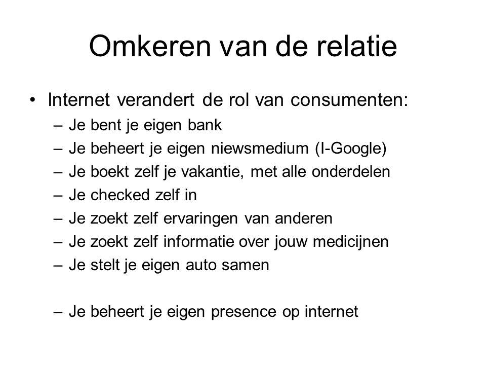 Omkeren van de relatie Internet verandert de rol van consumenten: –Je bent je eigen bank –Je beheert je eigen niewsmedium (I-Google) –Je boekt zelf je