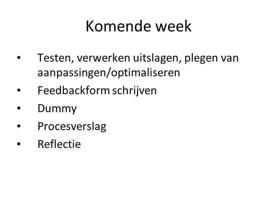 Komende week Testen, verwerken uitslagen, plegen van aanpassingen/optimaliseren Feedbackform schrijven Dummy Procesverslag Reflectie