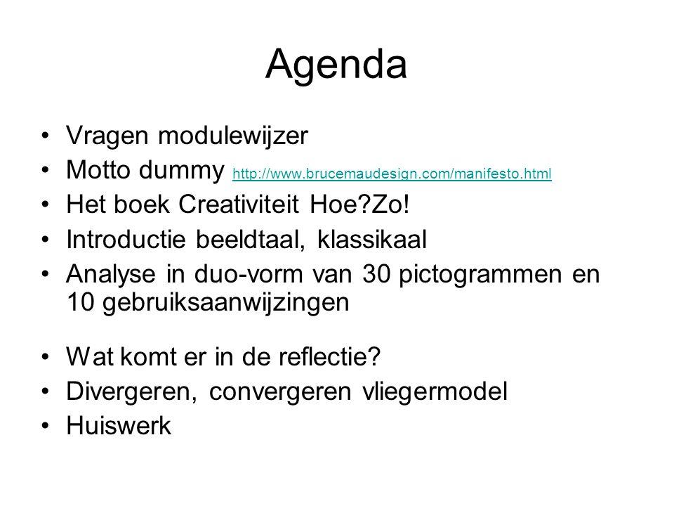 Agenda Vragen modulewijzer Motto dummy http://www.brucemaudesign.com/manifesto.html http://www.brucemaudesign.com/manifesto.html Het boek Creativiteit