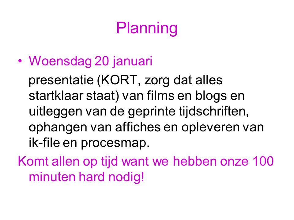 Vervolg Planning Woensdag 27 januari Aanvangstijd les (08.30 of 10.30 uur), in les- lokaal inleveren van Reflectie en Dummy.
