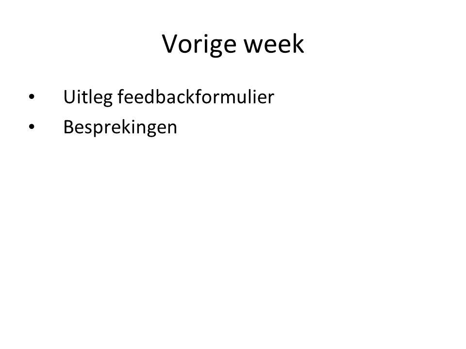 Vorige week Uitleg feedbackformulier Besprekingen