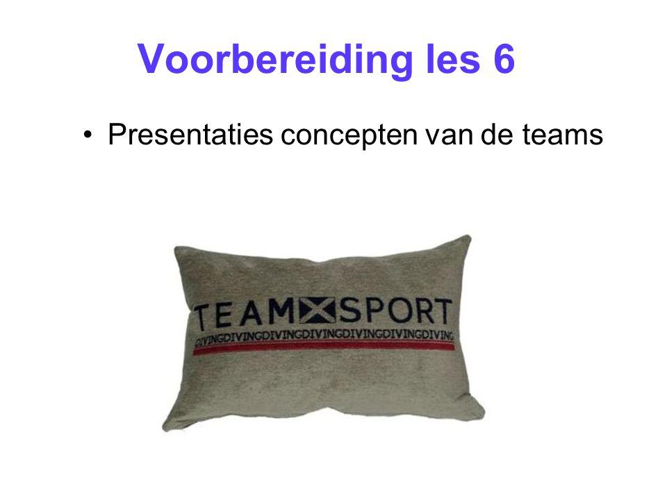 Voorbereiding les 6 Presentaties concepten van de teams