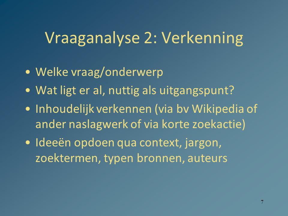 7 Vraaganalyse 2: Verkenning Welke vraag/onderwerp Wat ligt er al, nuttig als uitgangspunt.