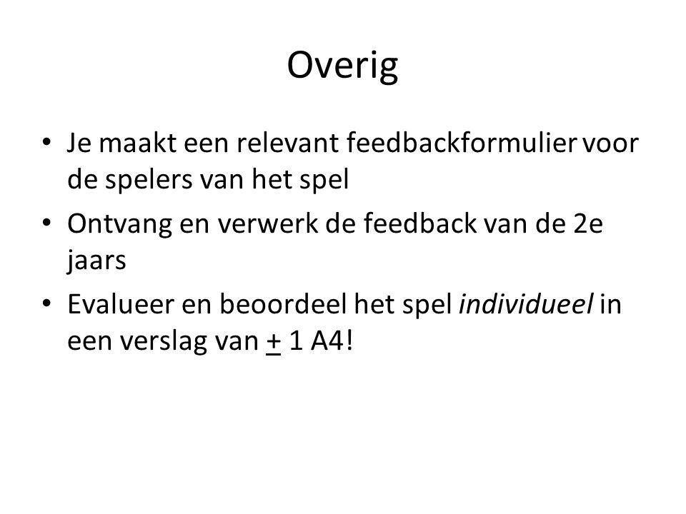 Overig Je maakt een relevant feedbackformulier voor de spelers van het spel Ontvang en verwerk de feedback van de 2e jaars Evalueer en beoordeel het s
