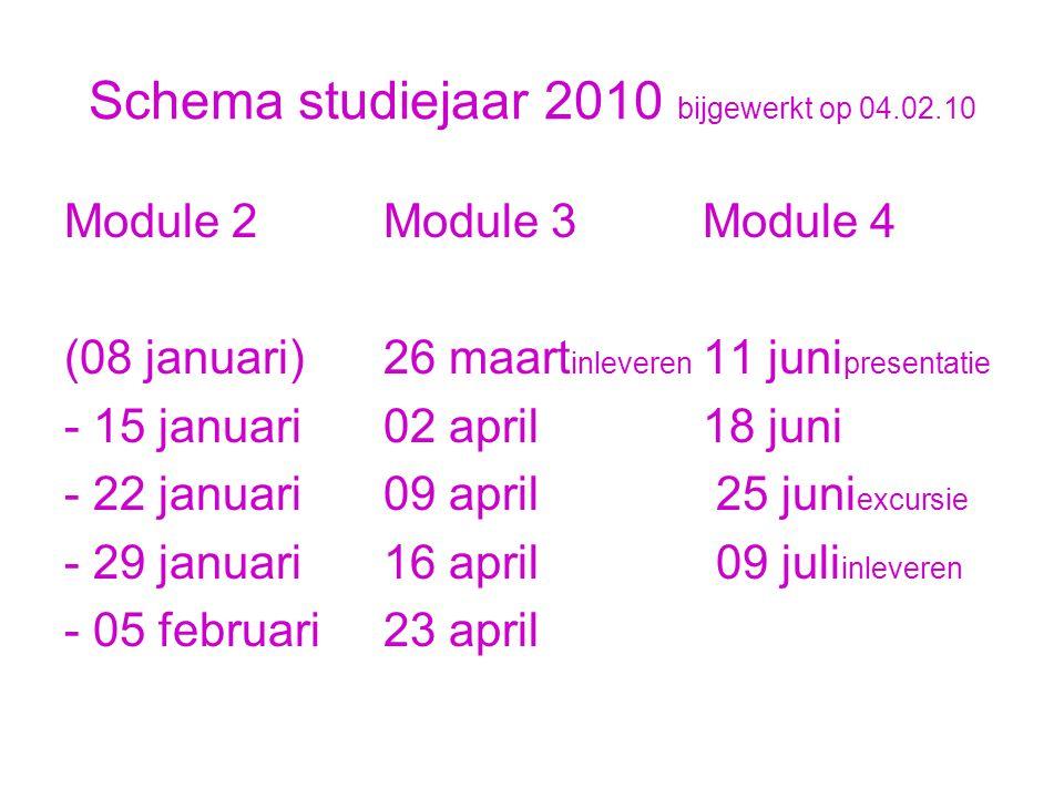 Schema studiejaar 2010 bijgewerkt op 04.02.10 Module 2Module 3Module 4 (08 januari)26 maart inleveren 11 juni presentatie - 15 januari02 april18 juni - 22 januari09 april 25 juni excursie - 29 januari16 april 09 juli inleveren - 05 februari23 april