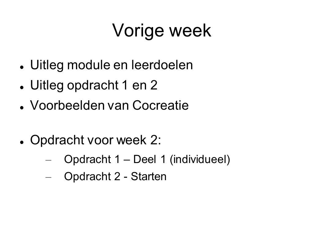 Vorige week Uitleg module en leerdoelen Uitleg opdracht 1 en 2 Voorbeelden van Cocreatie Opdracht voor week 2: – Opdracht 1 – Deel 1 (individueel) – Opdracht 2 - Starten