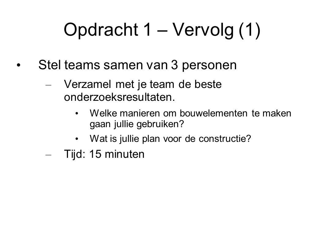 Opdracht 1 – Vervolg (1) Stel teams samen van 3 personen – Verzamel met je team de beste onderzoeksresultaten.