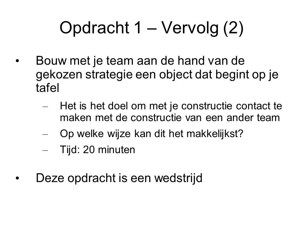 Opdracht 1 – Vervolg (2) Bouw met je team aan de hand van de gekozen strategie een object dat begint op je tafel – Het is het doel om met je constructie contact te maken met de constructie van een ander team – Op welke wijze kan dit het makkelijkst.