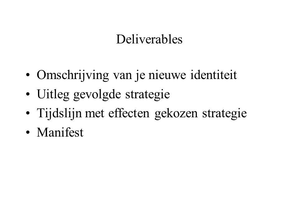 Deliverables Omschrijving van je nieuwe identiteit Uitleg gevolgde strategie Tijdslijn met effecten gekozen strategie Manifest