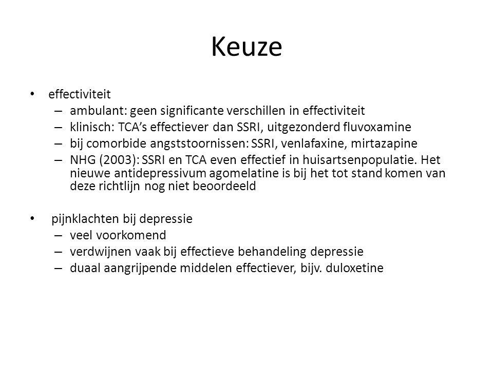Keuze effectiviteit – ambulant: geen significante verschillen in effectiviteit – klinisch: TCA's effectiever dan SSRI, uitgezonderd fluvoxamine – bij