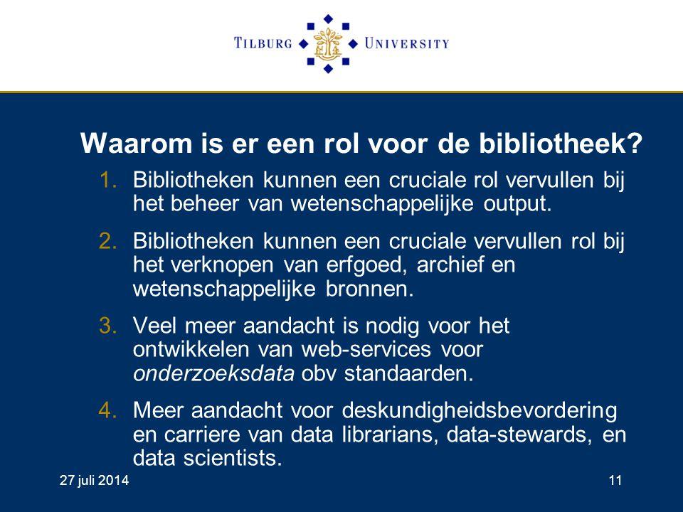 27 juli 201411 Waarom is er een rol voor de bibliotheek.