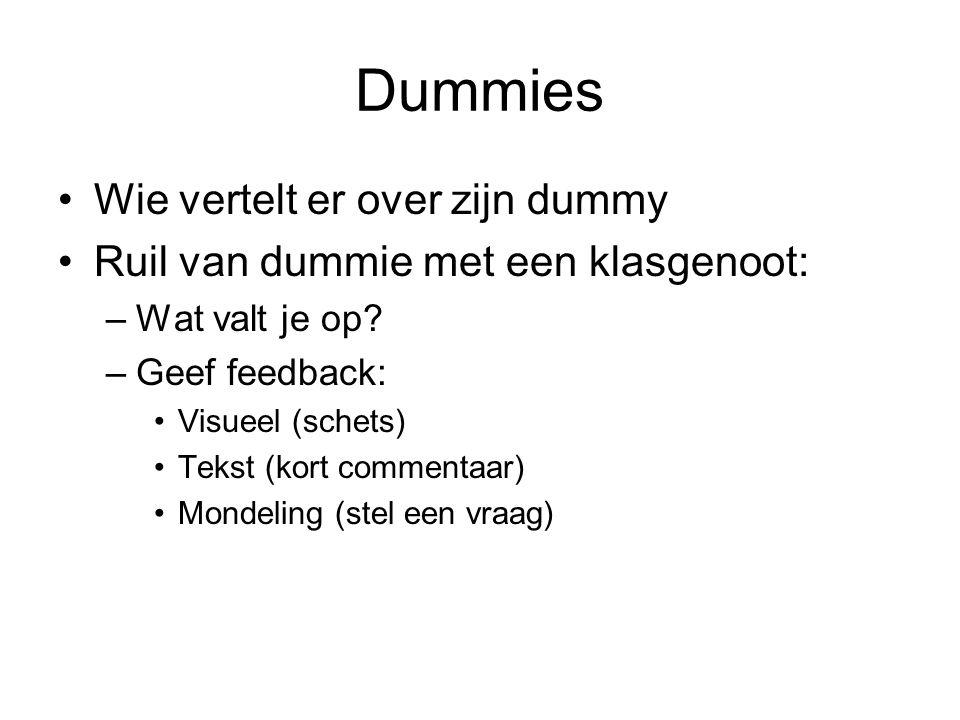 Dummies Wie vertelt er over zijn dummy Ruil van dummie met een klasgenoot: –Wat valt je op? –Geef feedback: Visueel (schets) Tekst (kort commentaar) M