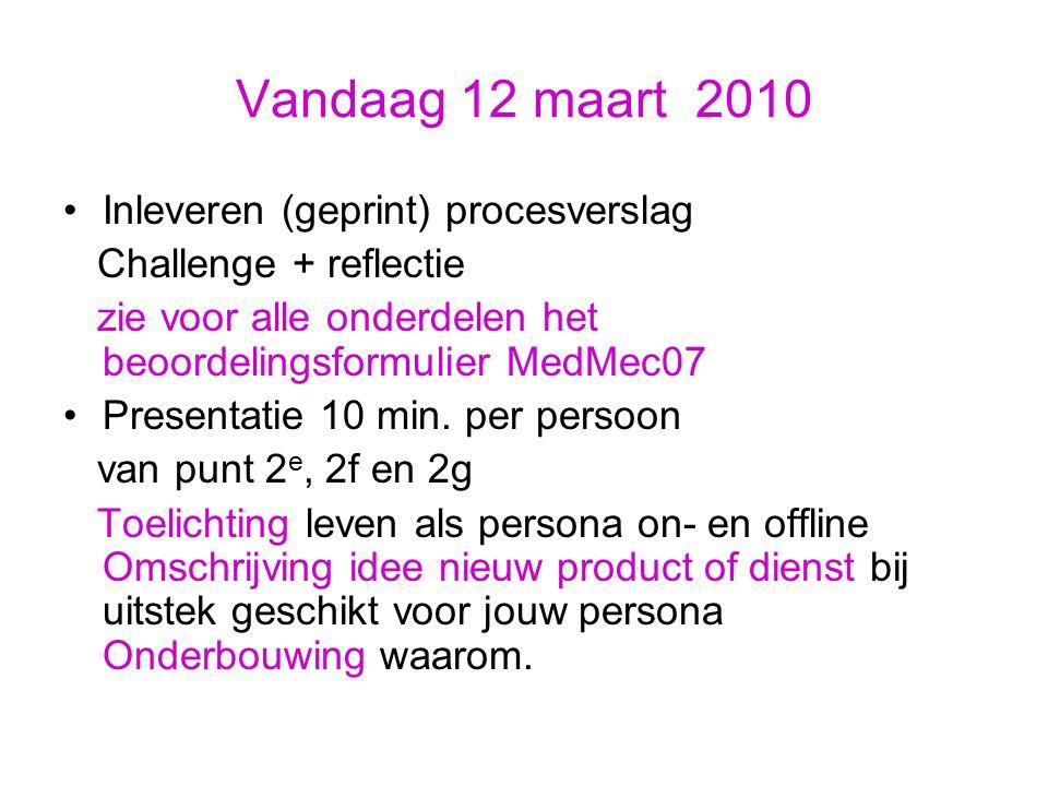 Vandaag 12 maart 2010 Inleveren (geprint) procesverslag Challenge + reflectie zie voor alle onderdelen het beoordelingsformulier MedMec07 Presentatie 10 min.