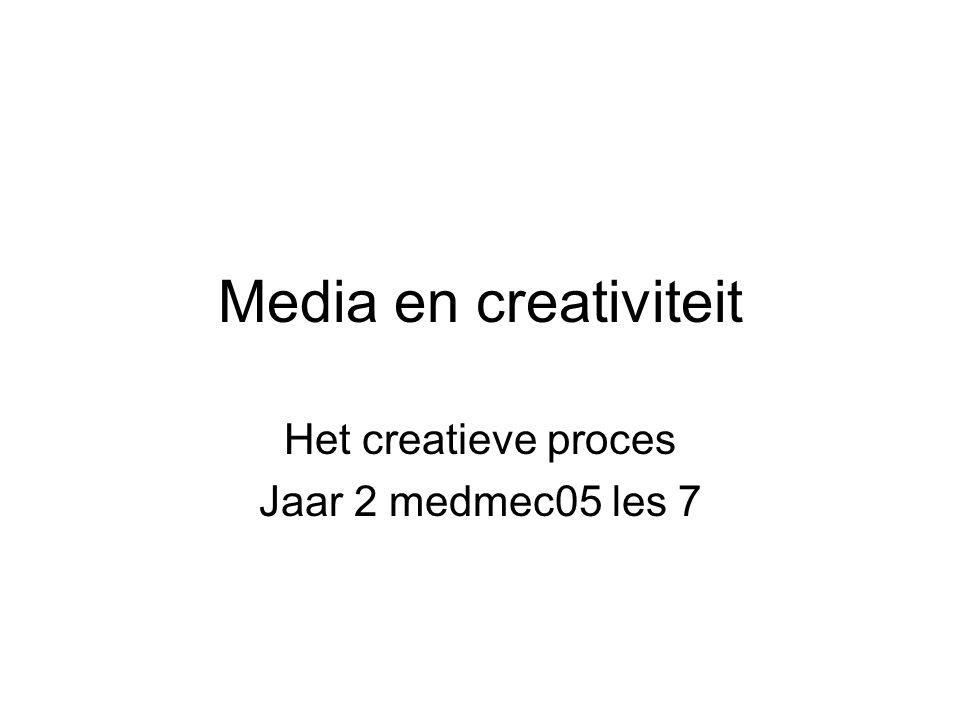 Media en creativiteit Het creatieve proces Jaar 2 medmec05 les 7