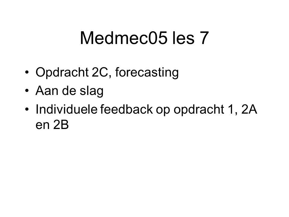 Medmec05 les 7 Opdracht 2C, forecasting Aan de slag Individuele feedback op opdracht 1, 2A en 2B