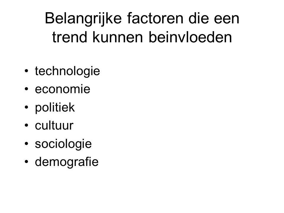 Belangrijke factoren die een trend kunnen beinvloeden technologie economie politiek cultuur sociologie demografie