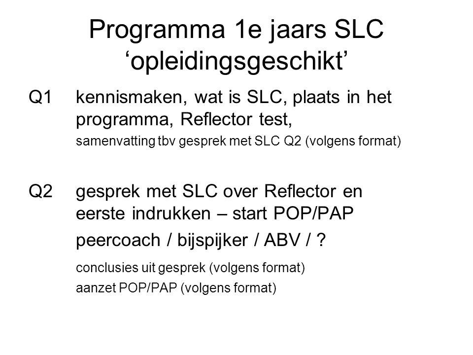 Programma 1e jaars SLC 'opleidingsgeschikt' Q1kennismaken, wat is SLC, plaats in het programma, Reflector test, samenvatting tbv gesprek met SLC Q2 (volgens format) Q2gesprek met SLC over Reflector en eerste indrukken – start POP/PAP peercoach / bijspijker / ABV / .