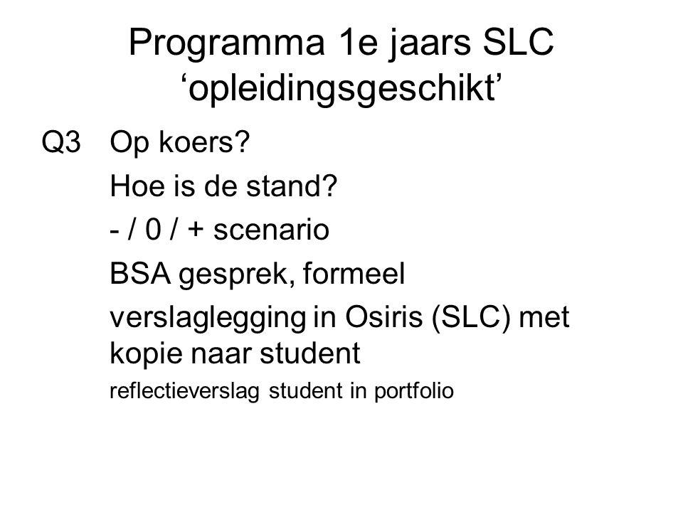 Programma 1e jaars SLC 'opleidingsgeschikt' Q3Op koers.