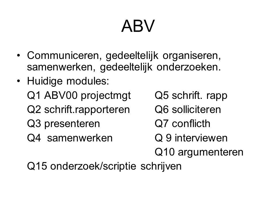 ABV Communiceren, gedeeltelijk organiseren, samenwerken, gedeeltelijk onderzoeken.