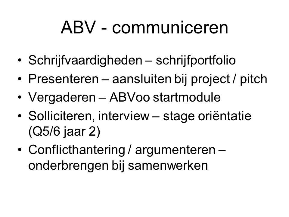 ABV - communiceren Schrijfvaardigheden – schrijfportfolio Presenteren – aansluiten bij project / pitch Vergaderen – ABVoo startmodule Solliciteren, interview – stage oriëntatie (Q5/6 jaar 2) Conflicthantering / argumenteren – onderbrengen bij samenwerken