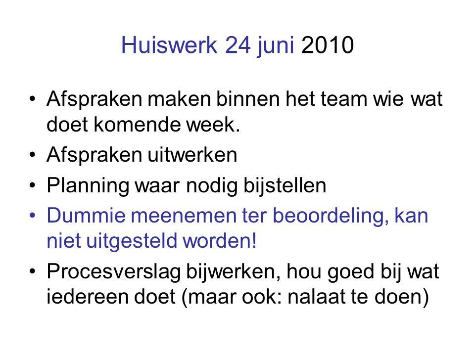 Huiswerk 24 juni 2010 Afspraken maken binnen het team wie wat doet komende week.