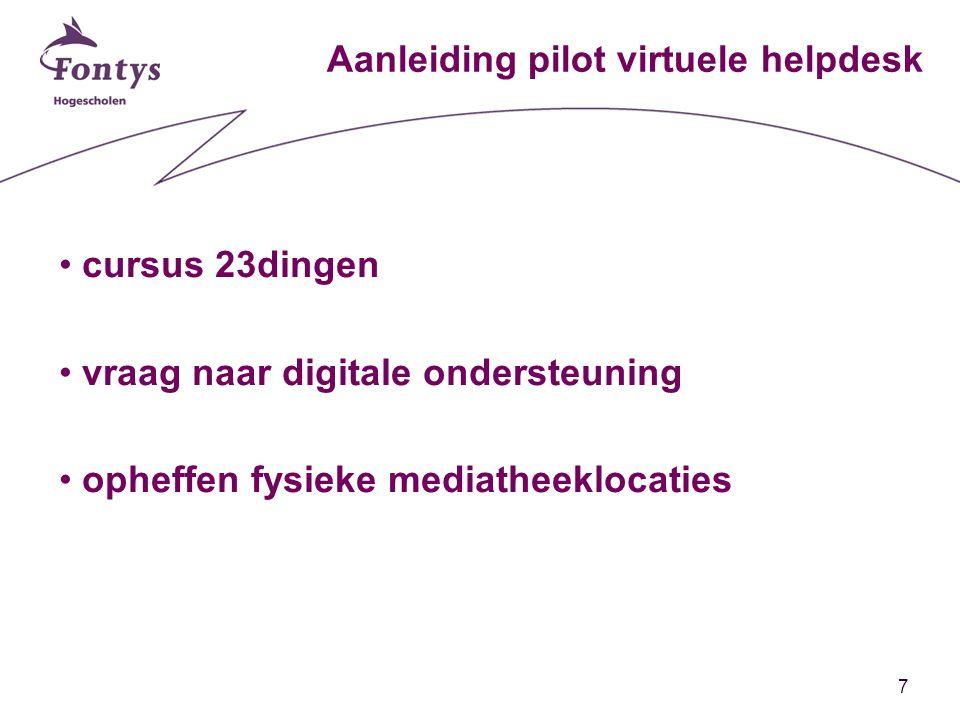7 Aanleiding pilot virtuele helpdesk cursus 23dingen vraag naar digitale ondersteuning opheffen fysieke mediatheeklocaties