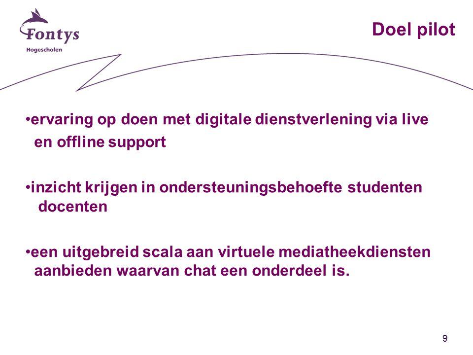 9 Doel pilot ervaring op doen met digitale dienstverlening via live en offline support inzicht krijgen in ondersteuningsbehoefte studenten docenten een uitgebreid scala aan virtuele mediatheekdiensten aanbieden waarvan chat een onderdeel is.