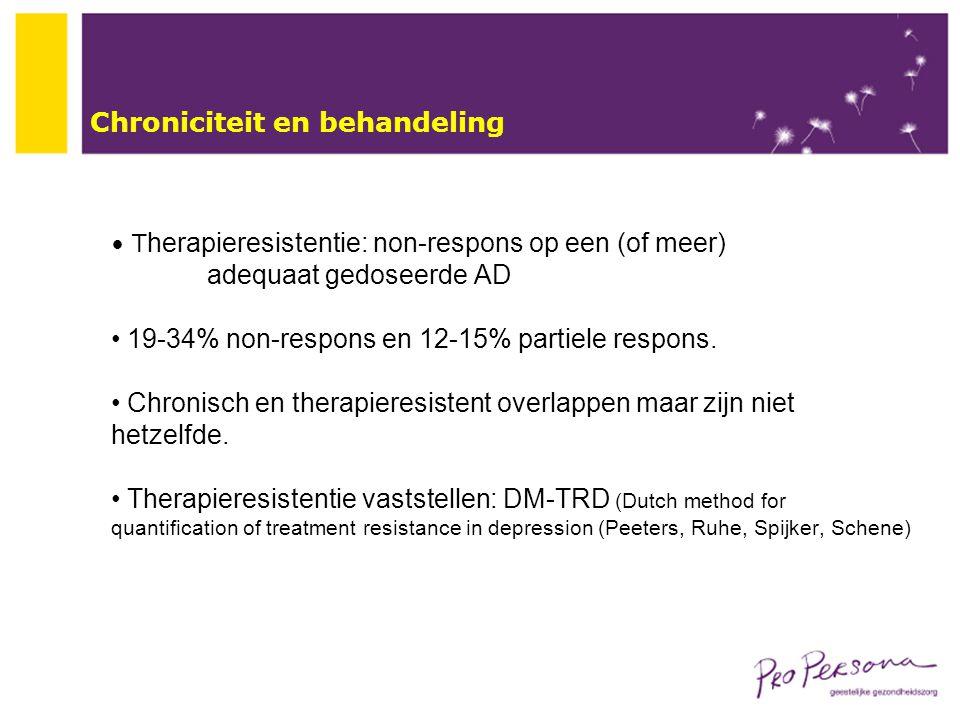 Chroniciteit en behandeling T herapieresistentie: non-respons op een (of meer) adequaat gedoseerde AD 19-34% non-respons en 12-15% partiele respons. C