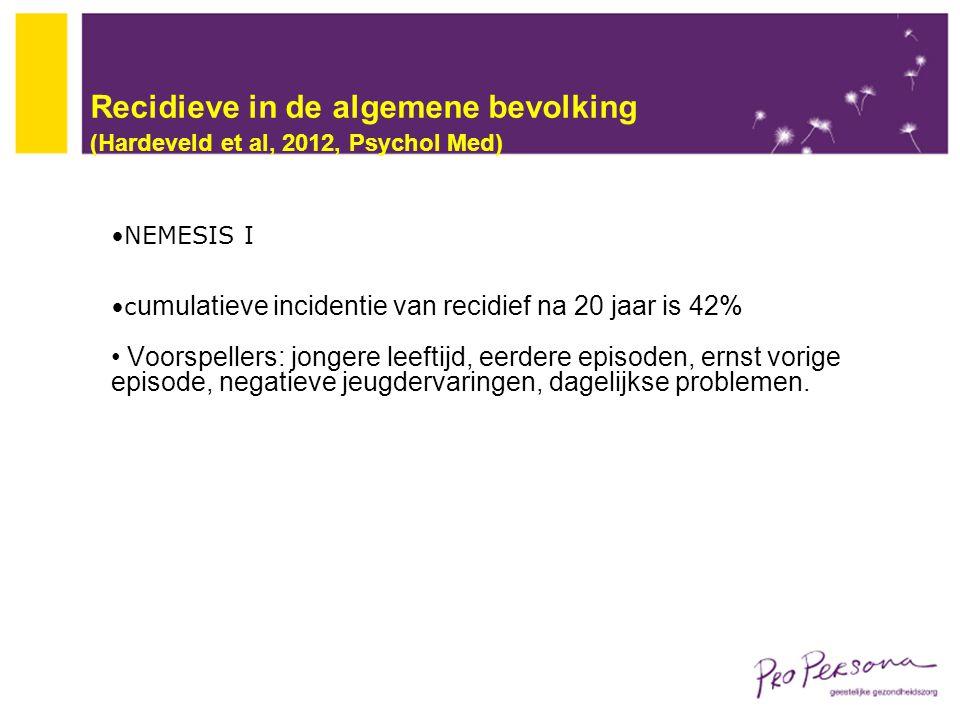 Recidieve in de algemene bevolking (Hardeveld et al, 2012, Psychol Med) NEMESIS I c umulatieve incidentie van recidief na 20 jaar is 42% Voorspellers: