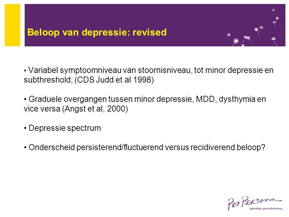 Beloop van depressie: revised Variabel symptoomniveau van stoornisniveau, tot minor depressie en subthreshold; (CDS Judd et al 1998) Graduele overgang