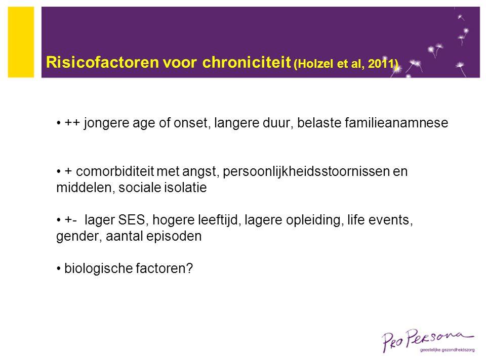 Risicofactoren voor chroniciteit (Holzel et al, 2011) ++ jongere age of onset, langere duur, belaste familieanamnese + comorbiditeit met angst, persoo