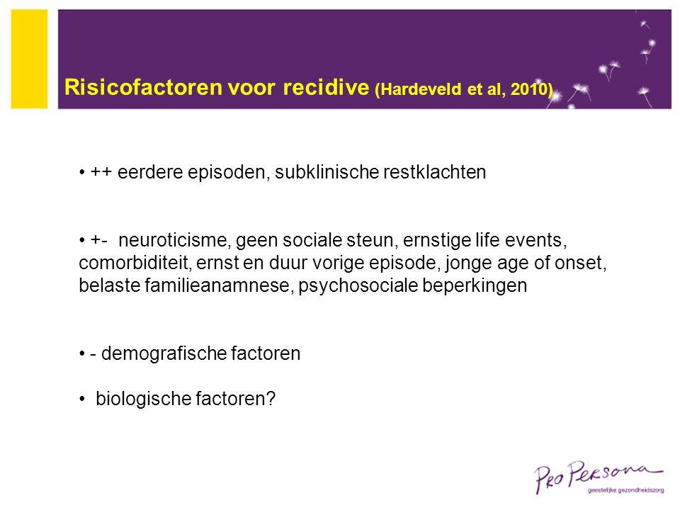 Risicofactoren voor recidive (Hardeveld et al, 2010) ++ eerdere episoden, subklinische restklachten +- neuroticisme, geen sociale steun, ernstige life