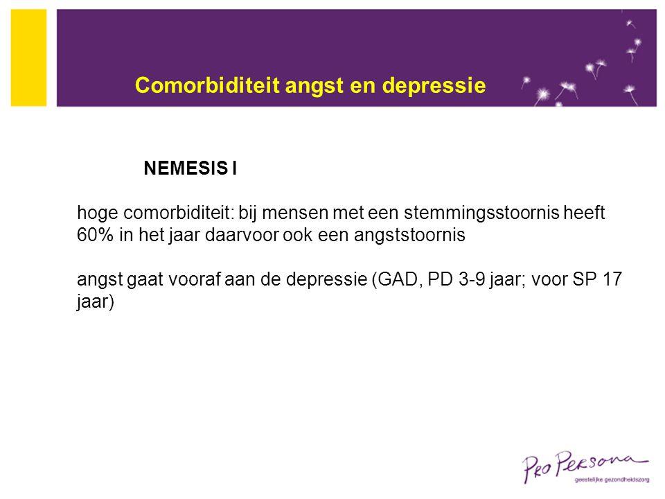 Comorbiditeit angst en depressie NEMESIS I hoge comorbiditeit: bij mensen met een stemmingsstoornis heeft 60% in het jaar daarvoor ook een angststoorn