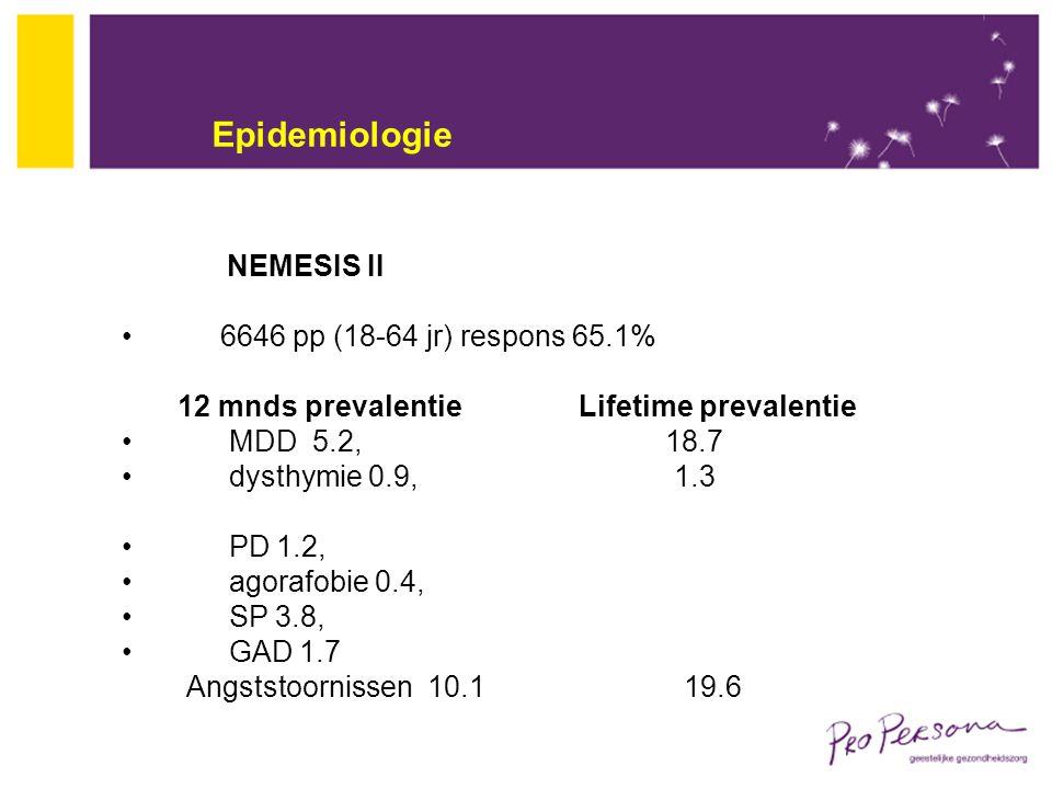 Epidemiologie NEMESIS II 6646 pp (18-64 jr) respons 65.1% 12 mnds prevalentie Lifetime prevalentie MDD 5.2, 18.7 dysthymie 0.9, 1.3 PD 1.2, agorafobie