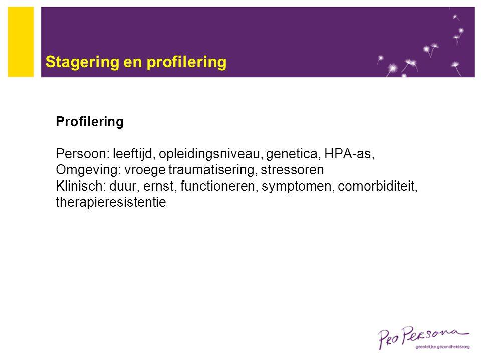 Stagering en profilering Profilering Persoon: leeftijd, opleidingsniveau, genetica, HPA-as, Omgeving: vroege traumatisering, stressoren Klinisch: duur