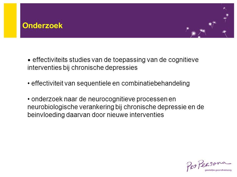 Onderzoek effectiviteits studies van de toepassing van de cognitieve interventies bij chronische depressies effectiviteit van sequentiele en combinati