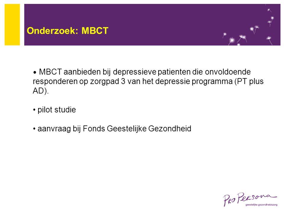 Onderzoek: MBCT MBCT aanbieden bij depressieve patienten die onvoldoende responderen op zorgpad 3 van het depressie programma (PT plus AD). pilot stud