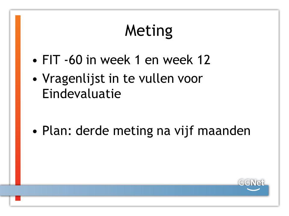 Meting FIT -60 in week 1 en week 12 Vragenlijst in te vullen voor Eindevaluatie Plan: derde meting na vijf maanden