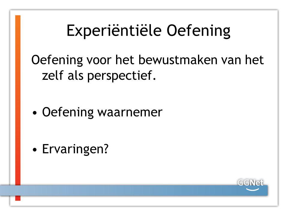 Experiëntiële Oefening Oefening voor het bewustmaken van het zelf als perspectief. Oefening waarnemer Ervaringen?