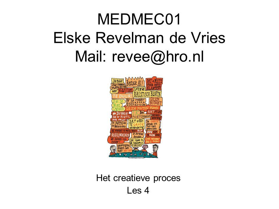 MEDMEC01 Elske Revelman de Vries Mail: revee@hro.nl Het creatieve proces Les 4