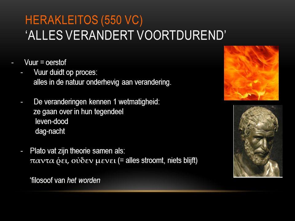 HERAKLEITOS (550 VC) 'ALLES VERANDERT VOORTDUREND' - Vuur = oerstof - Vuur duidt op proces: alles in de natuur onderhevig aan verandering. - De verand