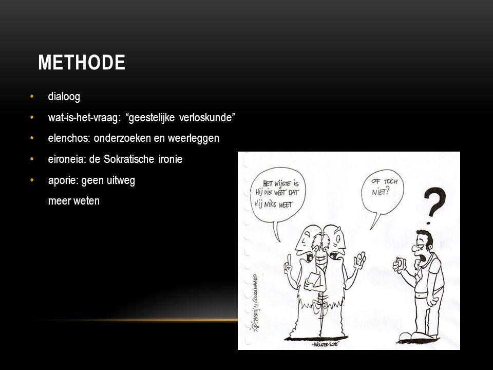 """METHODE dialoog wat-is-het-vraag: """"geestelijke verloskunde"""" elenchos: onderzoeken en weerleggen eironeia: de Sokratische ironie aporie: geen uitweg me"""