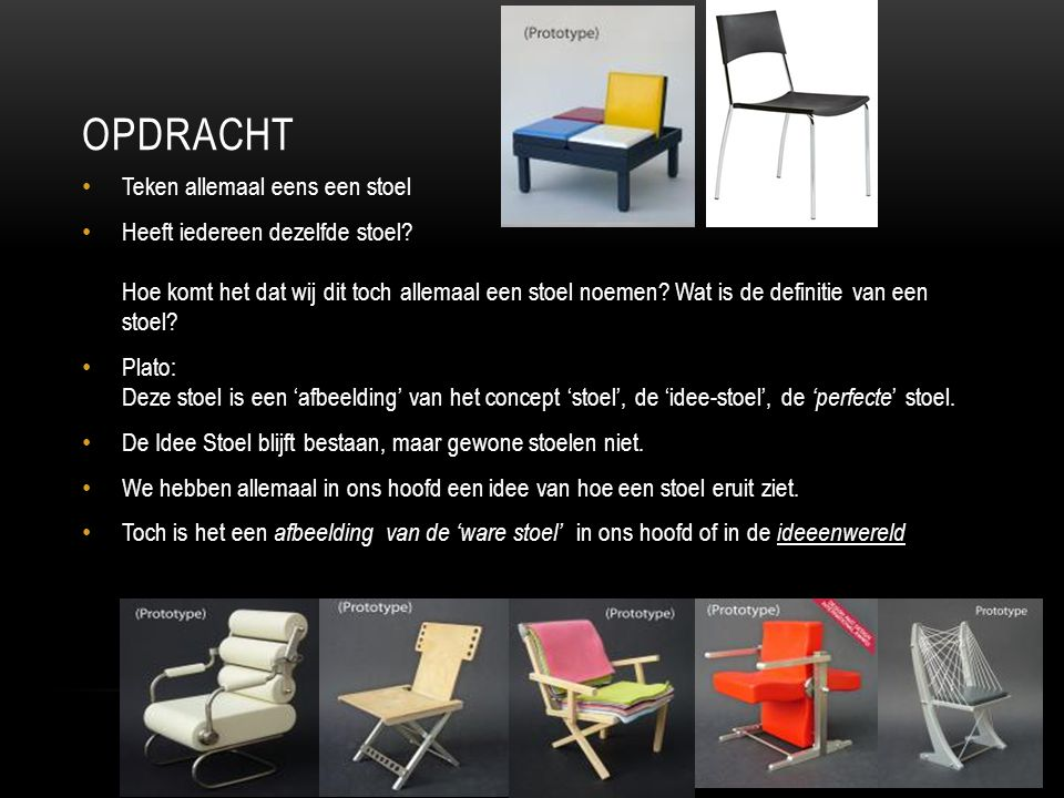 OPDRACHT Teken allemaal eens een stoel Heeft iedereen dezelfde stoel? Hoe komt het dat wij dit toch allemaal een stoel noemen? Wat is de definitie van