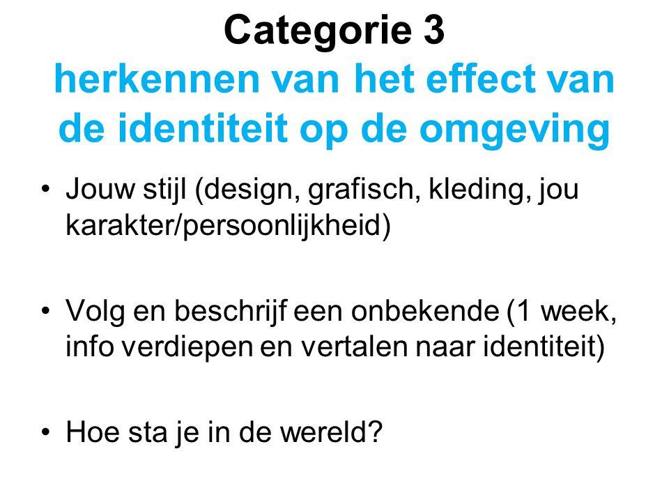 Categorie 3 herkennen van het effect van de identiteit op de omgeving Jouw stijl (design, grafisch, kleding, jou karakter/persoonlijkheid) Volg en beschrijf een onbekende (1 week, info verdiepen en vertalen naar identiteit) Hoe sta je in de wereld