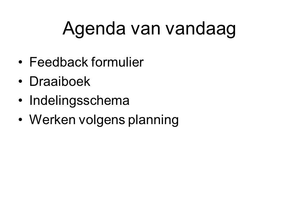 Agenda van vandaag Feedback formulier Draaiboek Indelingsschema Werken volgens planning