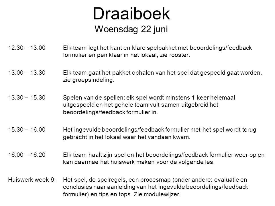 Draaiboek Woensdag 22 juni 12.30 – 13.00Elk team legt het kant en klare spelpakket met beoordelings/feedback formulier en pen klaar in het lokaal, zie rooster.
