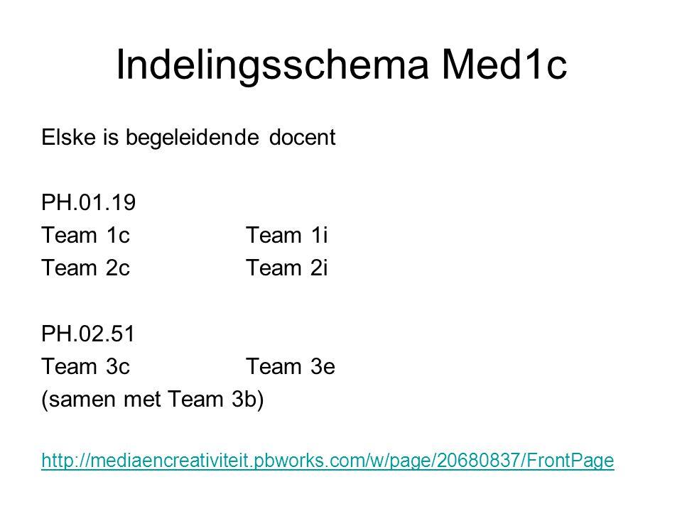 Indelingsschema Med1c Elske is begeleidende docent PH.01.19 Team 1c Team 1i Team 2c Team 2i PH.02.51 Team 3cTeam 3e (samen met Team 3b) http://mediaencreativiteit.pbworks.com/w/page/20680837/FrontPage