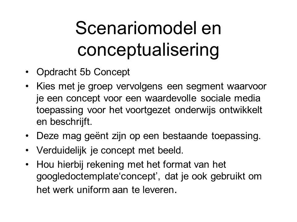 Scenariomodel en conceptualisering Opdracht 5b Concept Kies met je groep vervolgens een segment waarvoor je een concept voor een waardevolle sociale media toepassing voor het voortgezet onderwijs ontwikkelt en beschrijft.